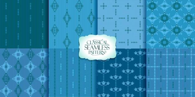 Conjunto de fundos de ornamentos florais e clássicos de padrões de vetores sem costura adequados para têxteis