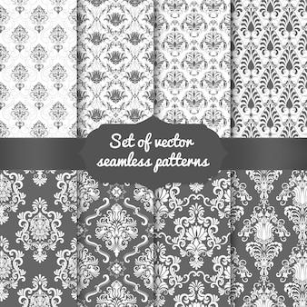 Conjunto de fundos de padrão sem emenda do damasco. enfeite de damasco antiquado de luxo clássico