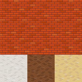 Conjunto de fundos de parede de tijolos. superfície de textura, bloco áspero, alvenaria e pedra.