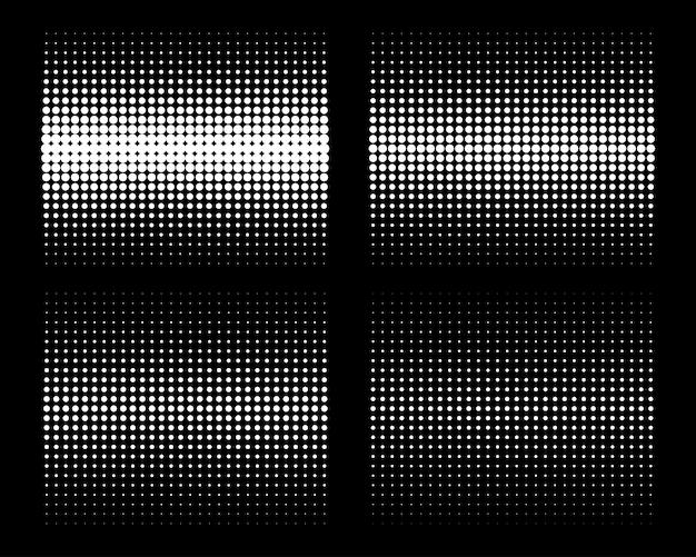 Conjunto de fundos de pontos de círculo de meio-tom gradiente vertical branco padrão de pontos de meio-tom vetor