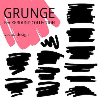 Conjunto de fundos de traçados de pincel de tinta preta. desenho à mão livre. elementos de design abstrato de grunge isolados no fundo branco. ilustração vetorial eps 10.