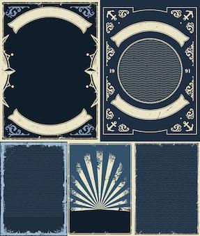 Conjunto de fundos de vintrage náutico e marinho