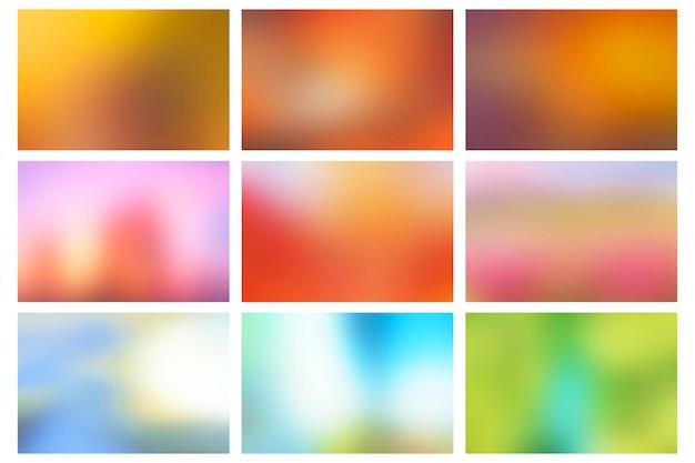 Conjunto de fundos desfocados lisos coloridos abstratos
