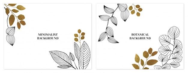 Conjunto de fundos floral minimalista preto e dourado