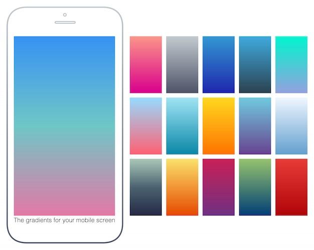 Conjunto de fundos gradiente de cor suave