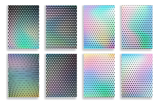 Conjunto de fundos gradientes coloridos borrados abstratos com texturas de meio-tom de pontos pretos