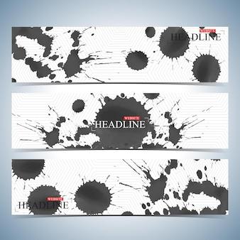Conjunto de fundos horizontais em aquarela. modelo de design de site de página moderna. ilustração vetorial.
