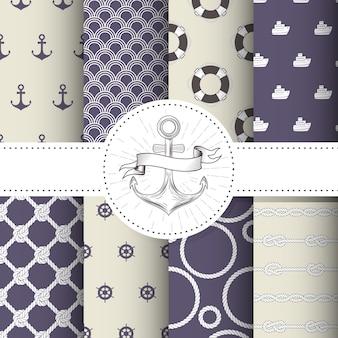 Conjunto de fundos marinhos e náuticos - coleção de padrões sem emenda de tema mar