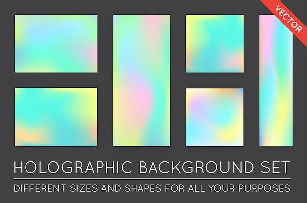 Conjunto de fundos na moda holográficos. pode ser usado para capa, livro, impressão, moda.