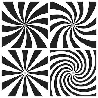 Conjunto de fundos psicodélicos em espiral com raios radiais cinza