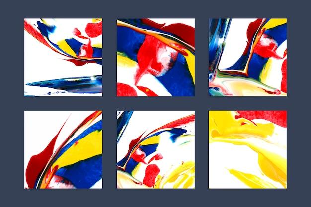 Conjunto de fundos quadrados artísticos coloridos