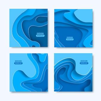 Conjunto de fundos quadrados com formas de corte de papel. desenho abstrato.