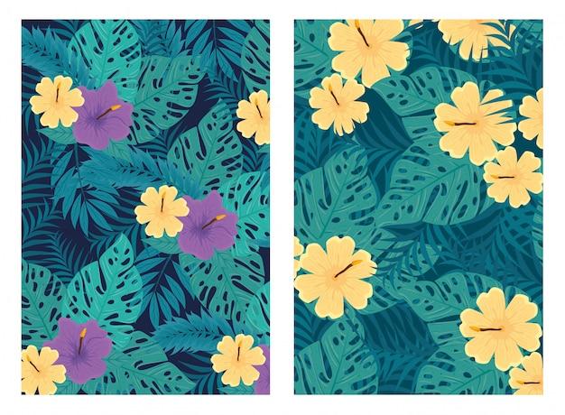Conjunto de fundos tropicais, flores roxas e amarelas cores com plantas tropicais, decoração com flores e folhas tropicais