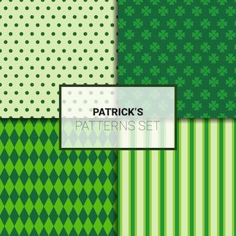 Conjunto de fundos verdes bonitos para padrões sem emenda de st patricks day com folhas de trevo