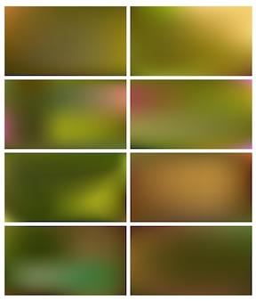 Conjunto de fundos verdes gradiente abstrato suave e embaçado