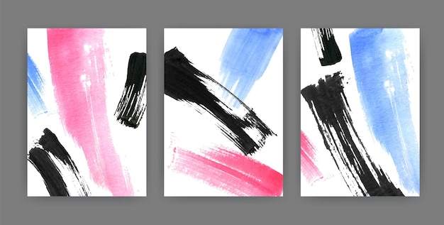 Conjunto de fundos verticais ou cenários com manchas, borrões, manchas de tinta coloridas abstratas