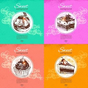 Conjunto de fundos vintage doces. ilustração de mão desenhada. menu de restaurante e café