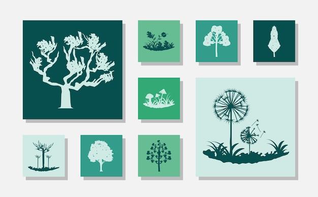Conjunto de fungos, árvores e plantas silvestres