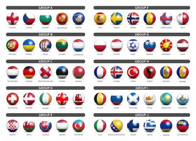Conjunto de futebol 3d com bandeira do país