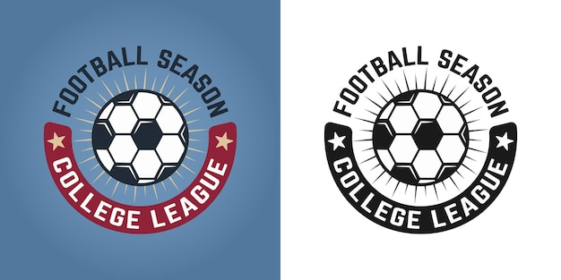 Conjunto de futebol de dois estilos com emblema, distintivo, etiqueta ou logotipo em fundo colorido e branco