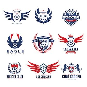 Conjunto de futebol futebol logotipo modelo