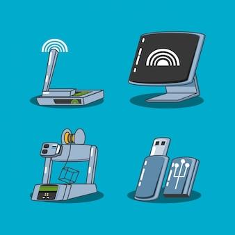 Conjunto de gadget de tecnologia