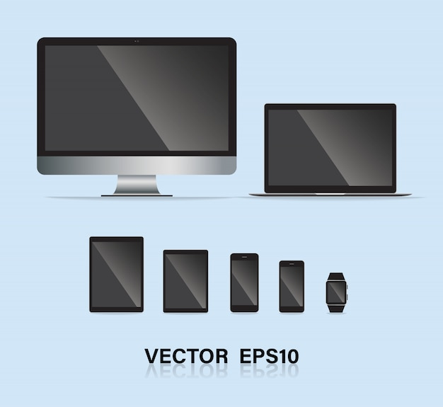 Conjunto de gadget eletrônico.