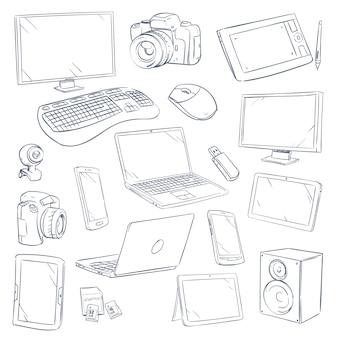 Conjunto de gadgets de tecnologia de computador de esboço desenhado mão
