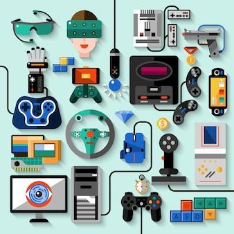 Conjunto de gadgets para jogos