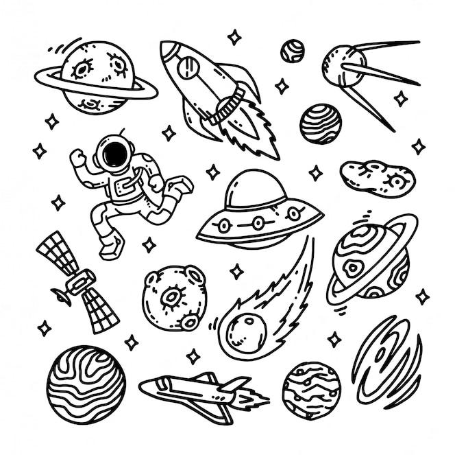 Conjunto de galáxia doodle ilustração
