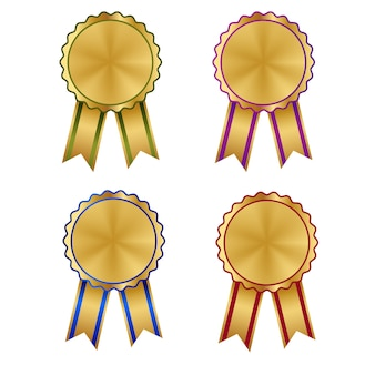 Conjunto de galera de prêmios e medalha heráldica de ouro
