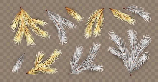 Conjunto de galhos de árvores de natal dourados e prateados