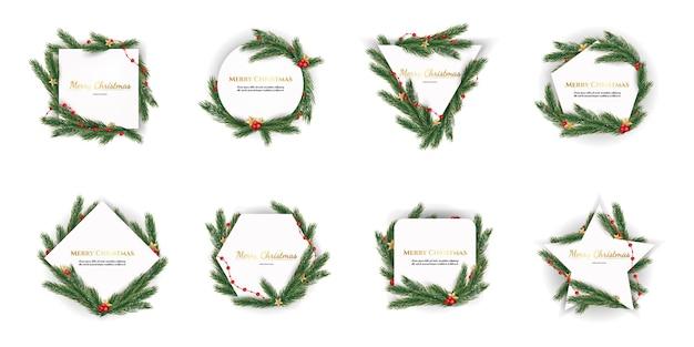 Conjunto de galhos de árvores de natal e forma geométrica
