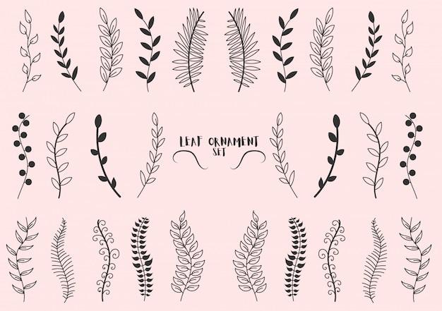 Conjunto de galhos de árvores padrão, eucaliptos, folhas de palmeira, grama. esboço feito à mão de folhas, flores, redemoinhos e penas de elementos vintage. elementos coloridos desenhados com um pincel de caneta. ilustração