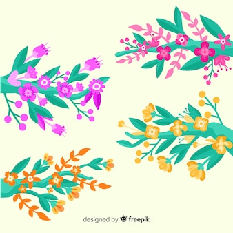 Conjunto de galhos e flores da primavera