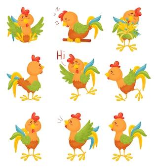 Conjunto de galos coloridos de desenho animado em diferentes situações