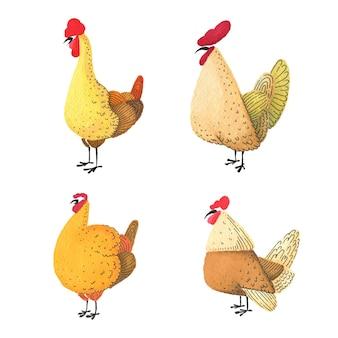 Conjunto de galos e galinhas em aquarela. Vetor Premium