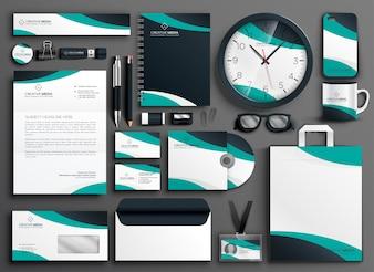Conjunto de garantia de papelaria empresarial moderno