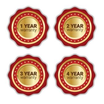 Conjunto de garantia emblema coleção de emblema dourado isolada