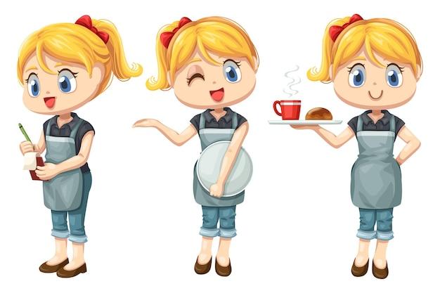 Conjunto de garçonete sorridente com avental trabalhando em um café com personagem de desenho animado