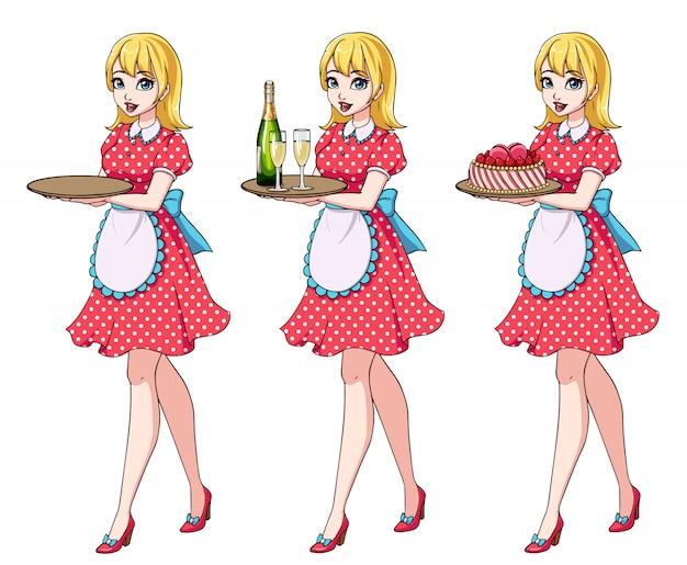 Conjunto de garçonetes loiras segurando champanhe e bolo