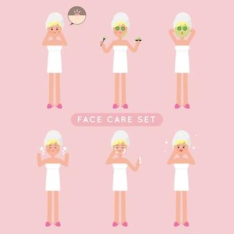Conjunto de garota de cuidados de rosto bonito