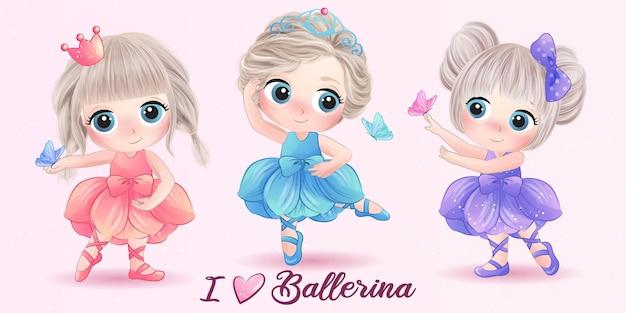 Conjunto de garota fofa doodle com bailarina ilustração em aquarela