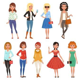 Conjunto de garotas atraentes em roupas da moda casuais com acessórios. longa-metragem de personagens femininas de desenhos animados com expressões de rosto alegre.