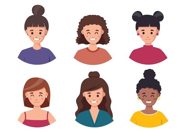 Conjunto de garotas bonitas com diferentes estilos de cabelo e coleção de avatar de rosto de ilustração de cor