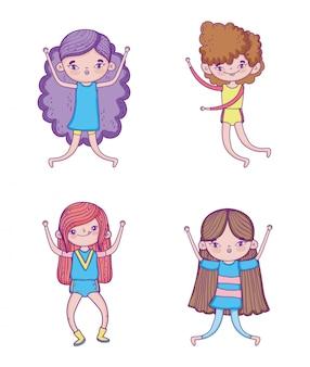 Conjunto de garotas engraçadas com penteado e entretenimento