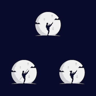 Conjunto de garotas lutando na lua