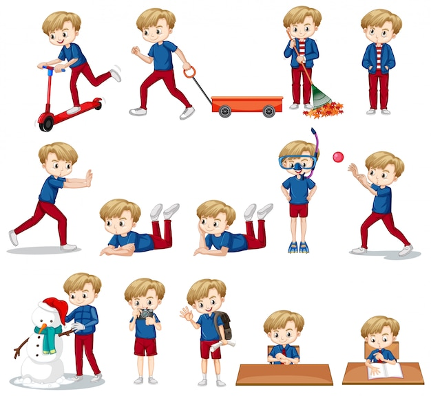 Conjunto de garoto bonito na camisa azul, fazendo atividades diferentes