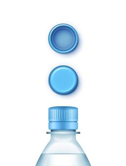 Conjunto de garrafa de água azul plástica em branco de tampas