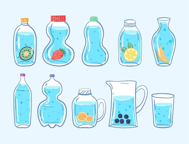 Conjunto de garrafa de água limpa diferente azul saudável com limão e bagas isoladas